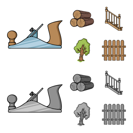 Logs in a stack, plane, tree, ladder with handrails. Sawmill and timber set collection icons in cartoon,monochrome style vector symbol stock illustration .