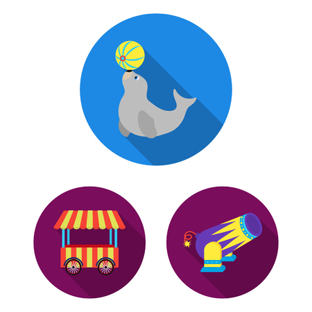 Circus and attributes flat icons in set collection for design. Circus Art bitmap symbol stock  illustration.