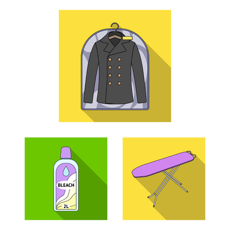Dry cleaning equipment flat icons in set collection for design. Washing and ironing clothes bitmap symbol stock  illustration.