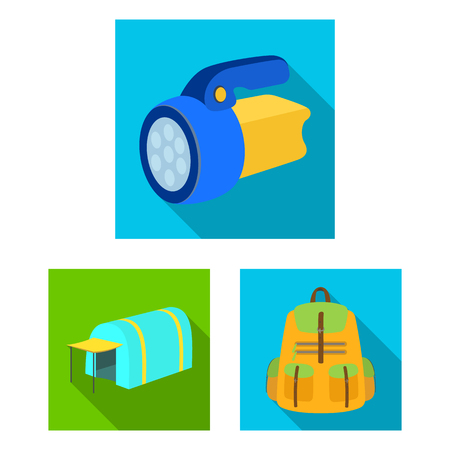Different kinds of tents flat icons in set collection for design. Temporary shelter and housing bitmap symbol stock  illustration. Фото со стока