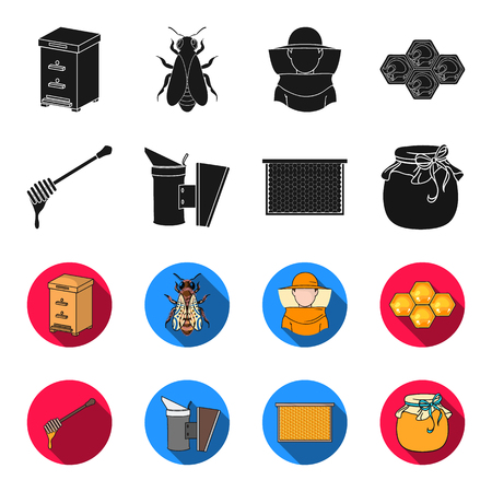 A frame with honeycombs, a ladle of honey, a fumigator from bees, a jar of honey.Apiary set collection icons in black,flet style bitmap symbol stock illustration web.