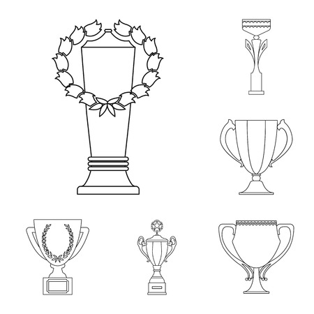 Gold Cup outline icons in set collection for design. Winners Cup bitmap symbol stock  illustration.
