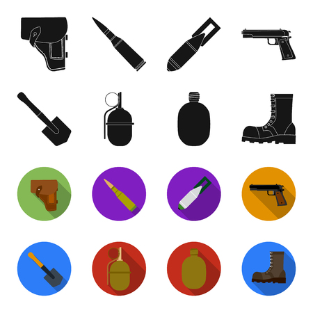 Sapper blade, hand grenade, army flask, soldier boot. Military and army set collection icons in black,flet style bitmap symbol stock illustration web.