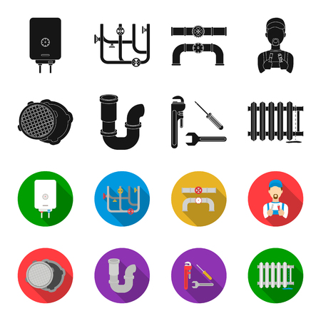 Sewage hatch, tool, radiator.Plumbing set collection icons in black,flet style bitmap symbol stock illustration web.