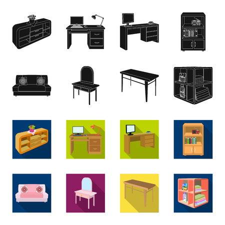 Soft sofa, toilet make-up table, dining table, shelving for laundry and detergent. Furniture and interior set collection icons in black,flet style isometric bitmap symbol stock illustration web.