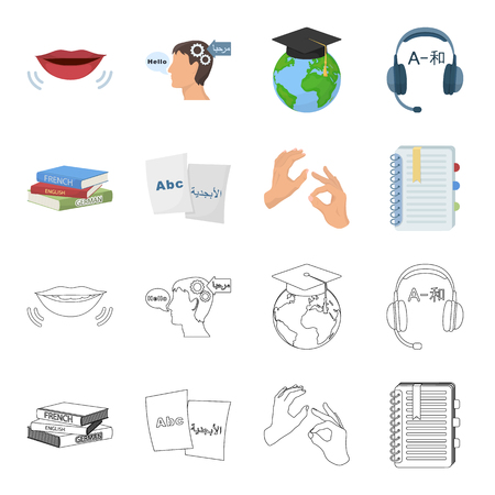 A pile of books in different languages, sheets of paper with translation, a gesture of deaf mutes, a notebook with text. Interpreter and translator set collection icons in cartoon,outline style bitmap symbol stock illustration web. Archivio Fotografico