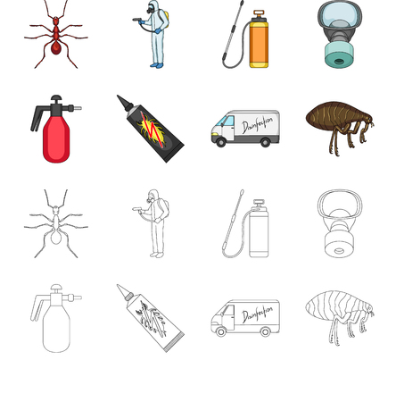 Flea, special car and equipment cartoon,outline icons in set collection for design. Pest Control Service bitmap symbol stock web illustration. Foto de archivo