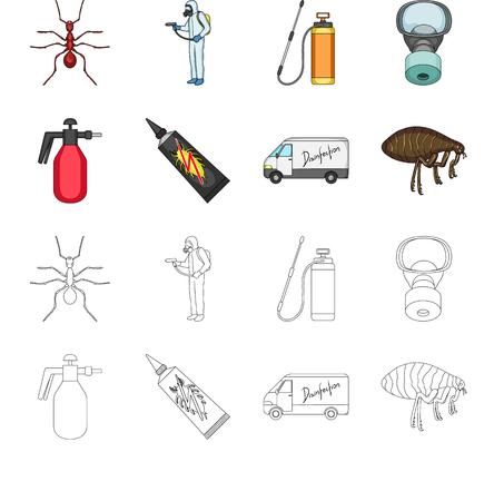 Pulgas, dibujos animados especiales de coches y equipos, iconos de contorno de colección set de diseño. Ilustración de stock de símbolo de mapa de bits del servicio de control de plagas. Foto de archivo