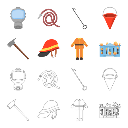 Ax, helmet, uniform, burning building. Fire departmentset set collection icons in cartoon,outline style bitmap symbol stock illustration web. 스톡 콘텐츠