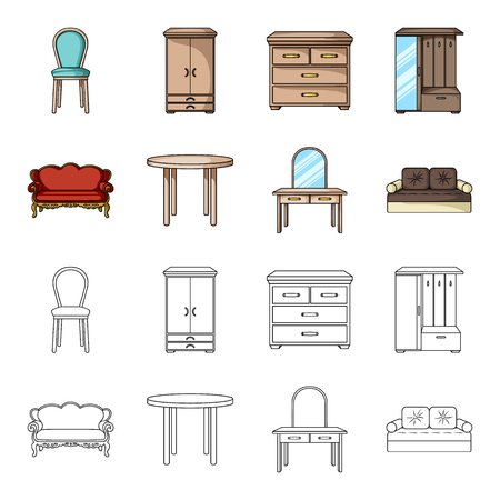 Sofa, armchair, table, mirror .Furniture and home interiorset collection icons in cartoon,outline style bitmap symbol stock illustration web.