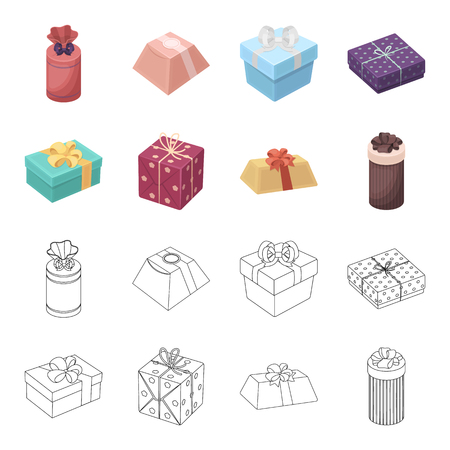 Gift box with bow, gift bag.Gifts and certificates set collection icons in cartoon,outline style bitmap symbol stock illustration web. Stock Photo