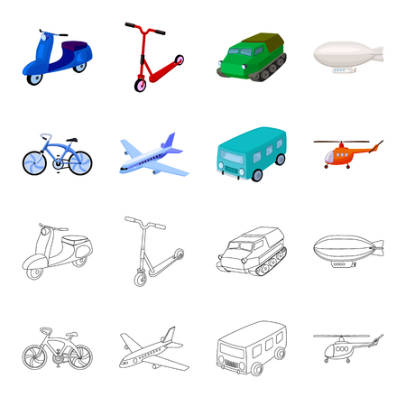 Bicycle, airplane, bus, helicopter types of transport. Transport set collection icons in cartoon,outline style bitmap symbol stock illustration web.