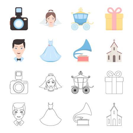 Wedding dress, groom, gramophone, church. Wedding set collection icons in cartoon,outline style bitmap symbol stock illustration web. Stock Photo