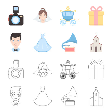 Wedding dress, groom, gramophone, church. Wedding set collection icons in cartoon,outline style bitmap symbol stock illustration web. 免版税图像
