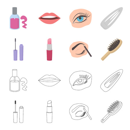 Mascara, hairbrush, lipstick, eyebrow pencil,Makeup set collection icons in cartoon,outline style bitmap symbol stock illustration web.