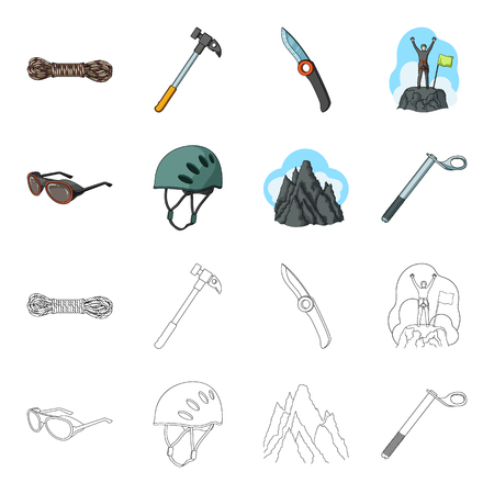 Helmet, goggles, wedge safety, peaks in the clouds.Mountaineering set collection icons in cartoon,outline style bitmap symbol stock illustration web. Reklamní fotografie