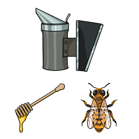 Apiary and beekeeping cartoon icons in set collection for design.Equipment and production of honey vector symbol stock web illustration. Stock Illustratie