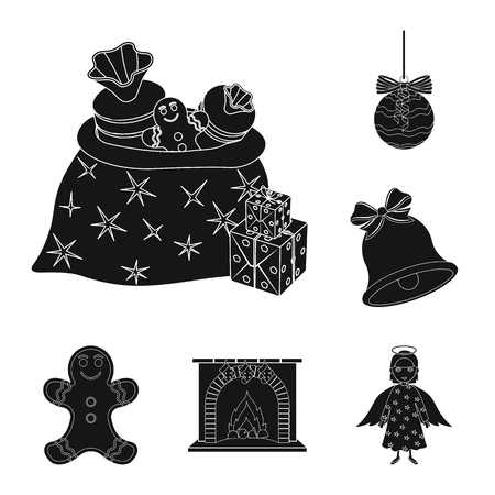 Christmas attributes and accessories black icons in set collection for design. Merry Christmas vector symbol stock web illustration. Illustration