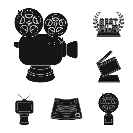 Film awards and prizes black icons in set collection for design. The World Film Academy vector symbol stock web illustration. Stock Illustratie
