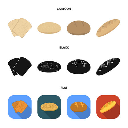 Toast, pizza stock, ruffed loaf, round rye.Bread set collection icons in cartoon,black,flat style vector symbol stock illustration web.