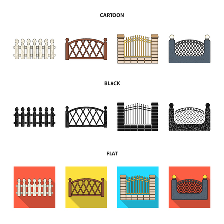 A fence of metal and bricks,wooden palisade. A different fence set collection icons in cartoon,black,flat style vector symbol stock illustration web. Illustration