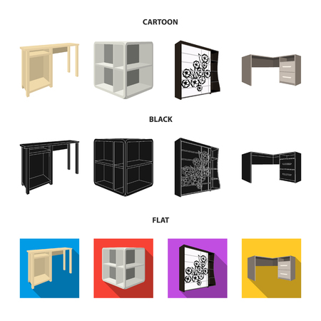 Dressing table, corner shelves, computer desk, wardrobe with glass. Bedroom furniture set collection icons in cartoon,black,flat style vector symbol stock illustration web.