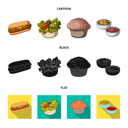 Food, rest, refreshments, and other web icon in cartoon,black,flat style.Cake, biscuit, cream, icons in set collection.