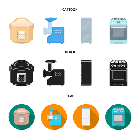 Multivarka, refrigerator, meat grinder, gas stove.Household set collection icons in cartoon,black,flat style vector symbol stock illustration web. 向量圖像