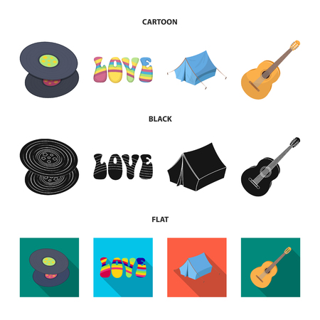 Vinyl discs, guitar, tent.Hippy set collection icons in cartoon,black,flat style vector symbol stock illustration web.