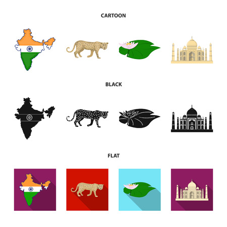 Country India cartoon,black,flat icons in set collection for design.India and landmark vector symbol stock web illustration. Illustration