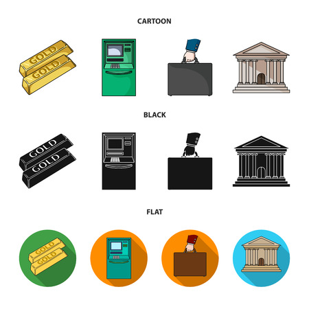 Gold bars, ATM, bank building, a case with money. Money and finance set collection icons in cartoon,black,flat style vector symbol stock illustration web.
