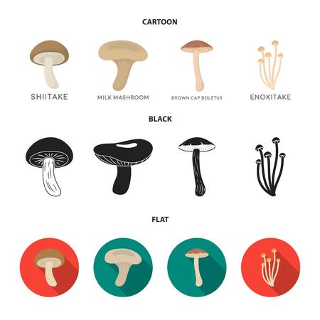 Shiitake, brown cap boletus, enokitake, milk. set collection icons in cartoon,black,flat style vector symbol stock illustration web.