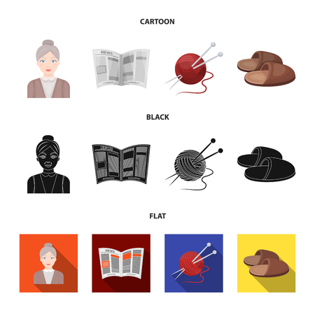 An elderly woman, slippers, a newspaper, knitting.Old age set collection icons in cartoon,black,flat style vector symbol stock illustration web.