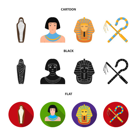 Crook and flail,a golden mask, an egyptian, a mummy in a tomb.Ancient Egypt set collection icons in cartoon,black,flat style vector symbol stock illustration web. Ilustração