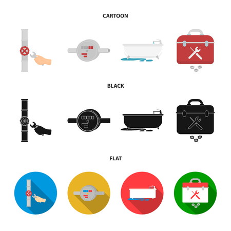 Water meter, bath and other equipment.Plumbing set collection icons in cartoon,black,flat style vector symbol stock illustration web.