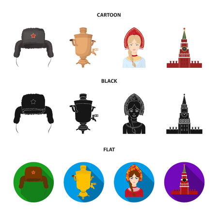 Clothes, woman, kremlin, building .Russia country set collection icons in cartoon,black,flat style vector symbol stock illustration web. Illustration