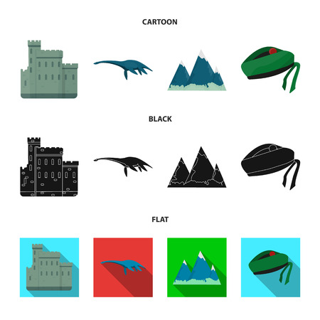 Edinburgh Castle, Loch Ness Monster, Grampian Mountains, national cap balmoral,tam shanter. Scotland set collection icons in cartoon,black,flat style vector symbol stock illustration web. Çizim