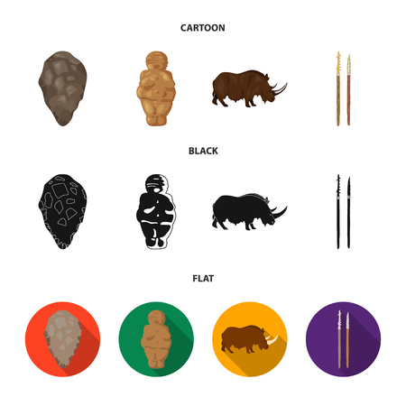 Primitive, woman, man, cattle .Stone age set collection icons in cartoon,black,flat style vector symbol stock illustration web.