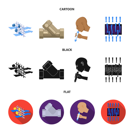 System, balloon, hand, trial .Water filtration system set collection icons in cartoon,black,flat style vector symbol stock illustration web.