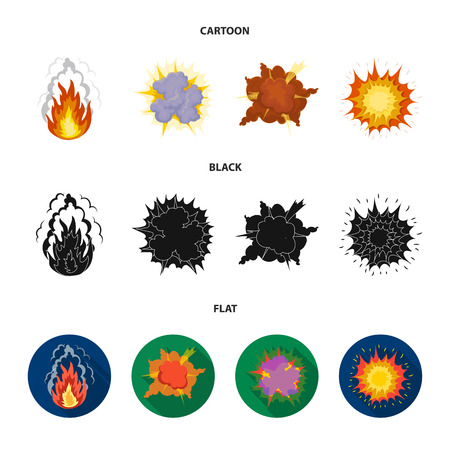 Flame, sparks, hydrogen fragments, atomic or gas explosion, thunderstorm, solar explosion. Explosions set collection icons in cartoon,black,flat style vector symbol stock illustration web.