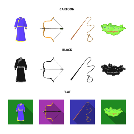 .mongol dressing gown, battle bow, theria on the map, Urga, Khlyst. Mongolia set collection icons in cartoon,black,flat style vector symbol stock illustration web.