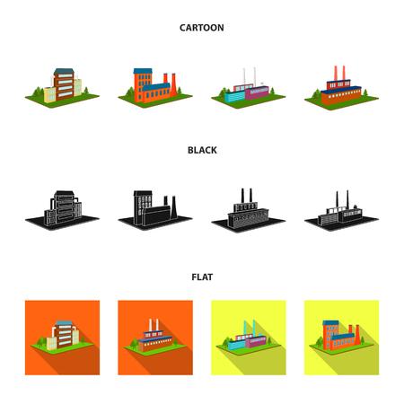 Verwerkingsfabriek, metallurgische fabriek. Fabriek en industrie instellen collectie iconen in zwart, plat, zwart-wit stijl isometrische vector symbool stock illustratie web. Vector Illustratie