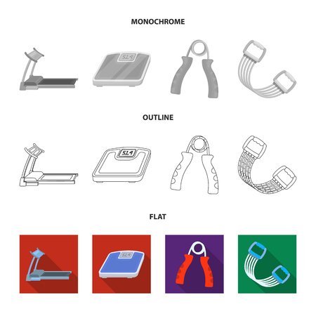 Treadmill, scales, expander and other equipment for training.Gym and workout set collection icons in flat,outline,monochrome style vector symbol stock illustration web. Illustration