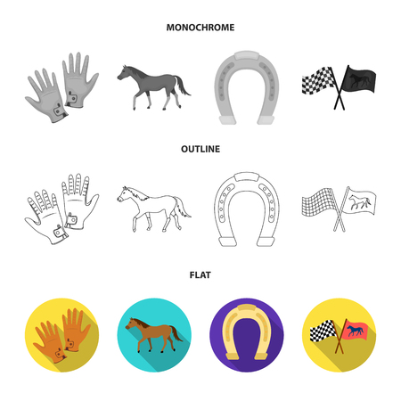 Race, track, horse, animal .Hippodrome and horse set collection icons in flat,outline,monochrome style vector symbol stock illustration web.
