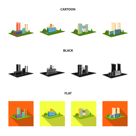 Processing factory,metallurgical plant. Factory and industry set collection icons in cartoon,black,flat style isometric vector symbol stock illustration web. Фото со стока - 105946298