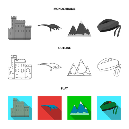Edinburgh Castle, Loch Ness Monster, Grampian Mountains, national cap balmoral,tam shanter. Scotland set collection icons in flat,outline,monochrome style vector symbol stock illustration web.