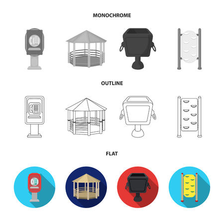 Telephone automatic, gazebo, garbage can, wall for children. Park set collection icons in flat,outline,monochrome style vector symbol stock illustration web.