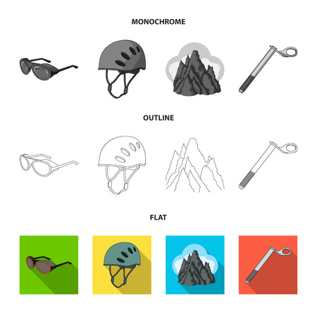 Helmet, goggles, wedge safety, peaks in the clouds.Mountaineering set collection icons in flat,outline,monochrome style vector symbol stock illustration web.