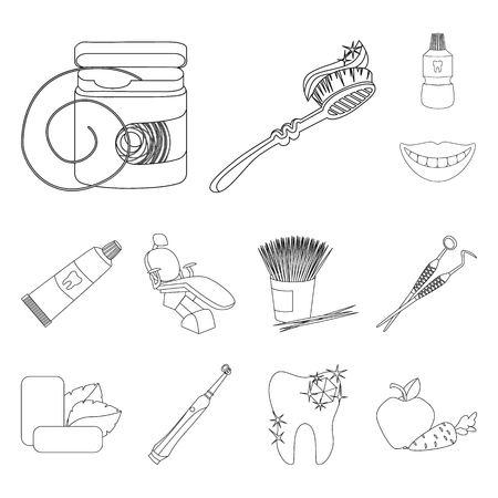 Dental care outline icons in set collection for design. Care of teeth vector symbol stock web illustration.