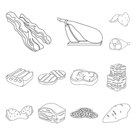 Différentes icônes de contour de viande dans la collection de jeu pour la conception. Produit de viande vecteur symbole stock illustration web.